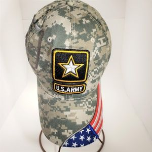 US Army Camo W/American Flag Ball Cap